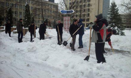 Hogea scoate bărbaţii din Primăria Tulcea la deszăpezirea trotuarelor