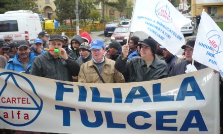 Sindicalişti tulceni de la Cartel Alfa protestează la Bucureşti