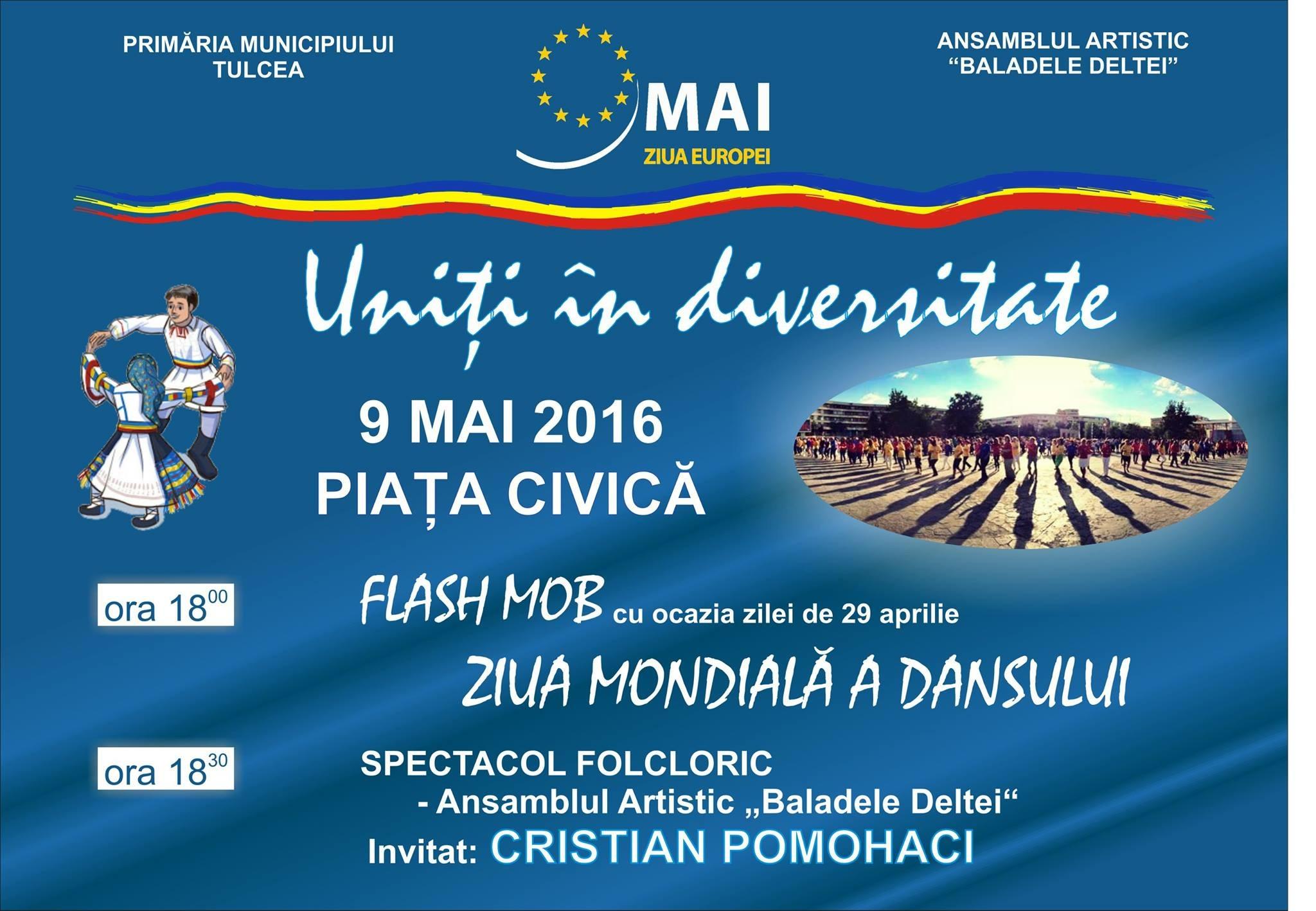 """,,Uniţi în diversitate""""- Flash mob de dans şi spectacol folcloric"""