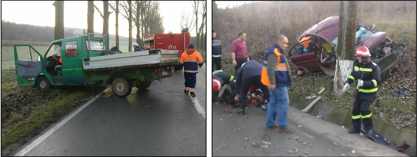 Accidente trase la indigo la Agighiol: o autoutilitară şi un autoturism au ieşit în decor