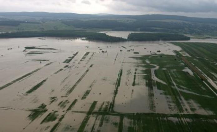 Sute de hectare de teren arabil au fost inundate în judeţ