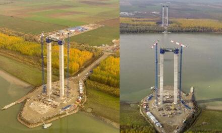 Picioarele podului peste Dunăre vor fi finalizate la jumătatea lunii decembrie