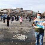 """Circa 40 de sindicalişti de la """"Solidaritatea Sanitară"""" au protestat în Piaţa Civică"""