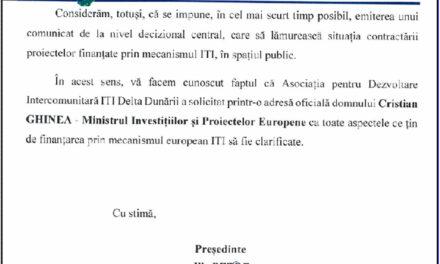 Preşedintele Ilie Petre cere clarificări ministrului Cristian Ghinea privind finanţarea proiectelor prin ITI Delta Dunării